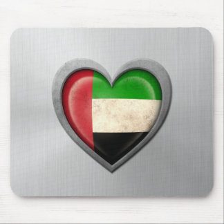 United Arab Emirates Heart Flag Stainless Steel Ef Mouse Pad