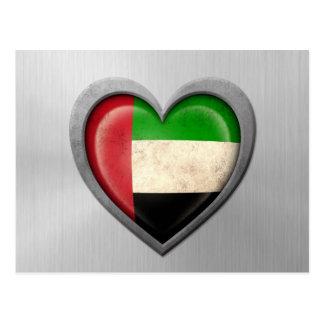 United Arab Emirates Heart Flag Stainless Steel Ef Postcard