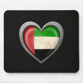 United Arab Emirates Heart Flag Steel Mesh Effect Mouse Pad