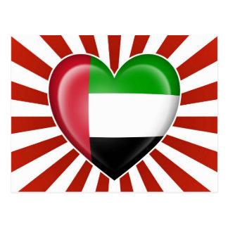 United Arab Emirates Heart Flag with Star Burst Postcard