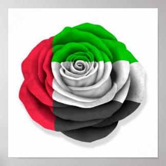 United Arab Emirates Rose Flag on White Poster