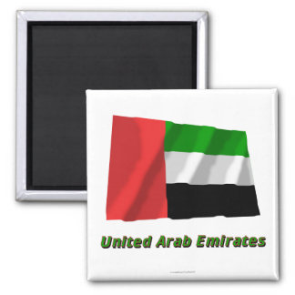 United Arab Emirates Waving Flag with Name 2 Inch Square Magnet