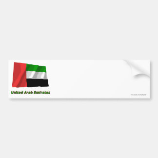 United Arab Emirates Waving Flag with Name Bumper Stickers