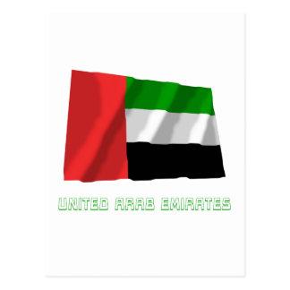United Arab Emirates Waving Flag with Name Postcard