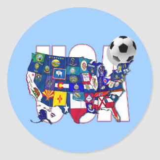 United behind the USA soccer team Classic Round Sticker
