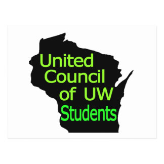 United Council New Logo Lime on Black Postcard