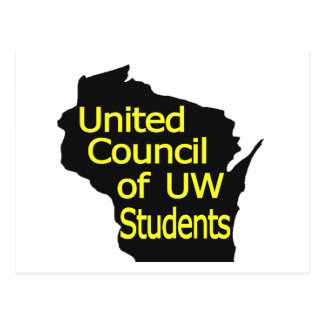 United Council New Logo Yellow on Black Postcard