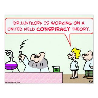 """united field conspiracy theory scientists science 4.25"""" x 5.5"""" invitation card"""