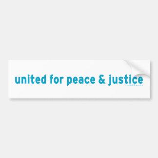 United For Peace & Justice Bumper Sticker Car Bumper Sticker