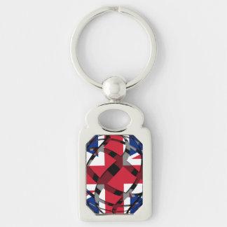 United Kingdom #1 Silver-Colored Rectangular Metal Keychain