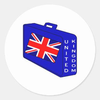 United Kingdom Blue Luggage Classic Round Sticker