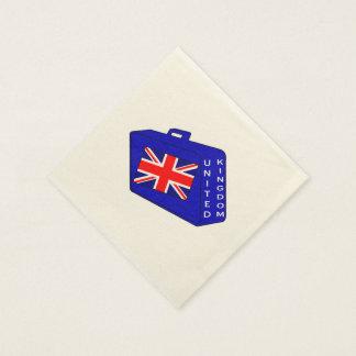 United Kingdom Blue Luggage Paper Napkin