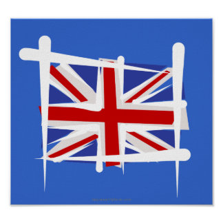 United Kingdom Brush Flag Poster