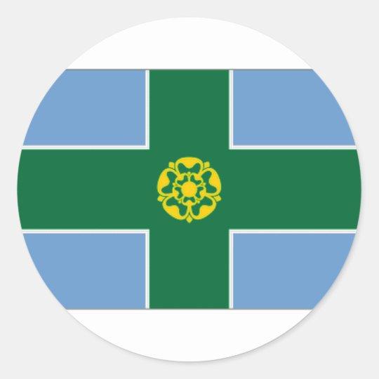 United Kingdom Derbyshire Flag Classic Round Sticker