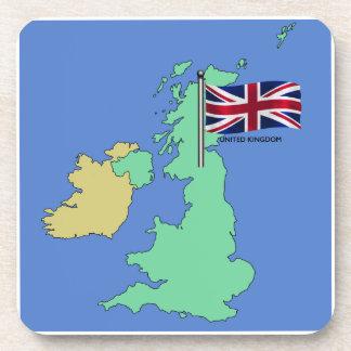 United Kingdom Flag and Map Drink Coaster