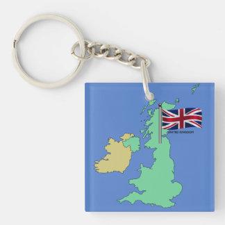 United Kingdom Flag and Map Keychain