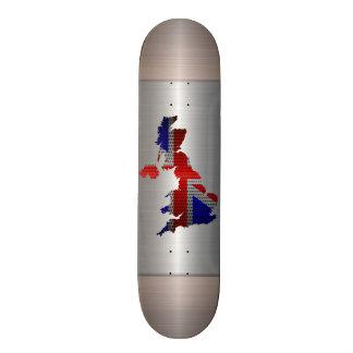 United Kingdom Flag and Map Steel Metal Hole Skateboard