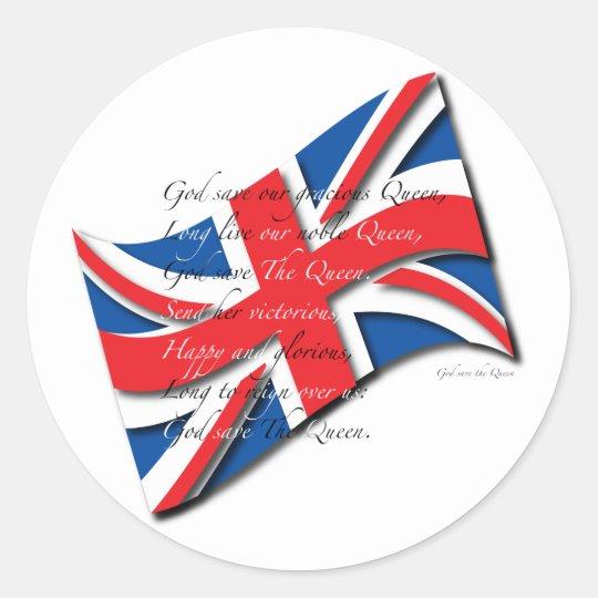 United Kingdom Flag/Anthem Classic Round Sticker
