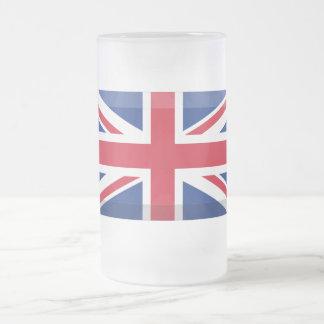 United Kingdom Flag Jewel Frosted Glass Beer Mug