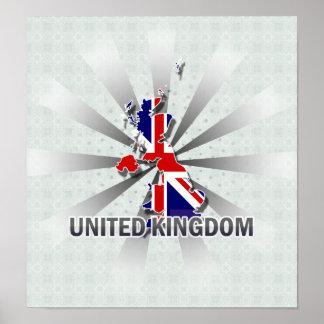 United Kingdom Flag Map 2.0 Posters