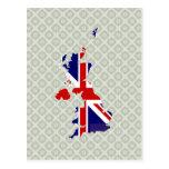 United Kingdom Flag Map full size Postcard