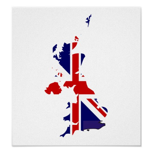 United Kingdom Flag Map full size Posters