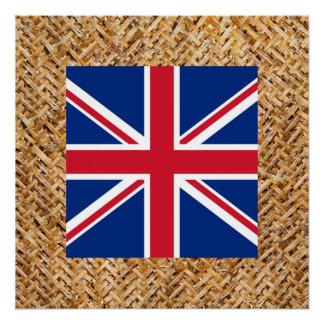 United Kingdom Flag on Textile themed Poster