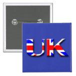 United Kingdom Flag Pinback Buttons
