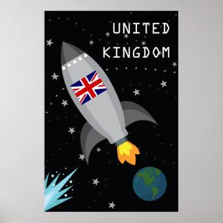 United Kingdom Flag Rocket Ship Poster