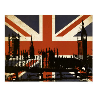 United Kingdom Flag with Silhouette of Parliament Postcard