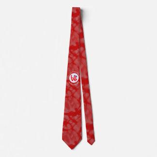United Kingdom LOVE White on Red Neck Tie