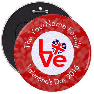 United Kingdom LOVE White on Red Pinback Button