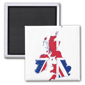 United Kingdom map Flag GB 2 Inch Square Magnet