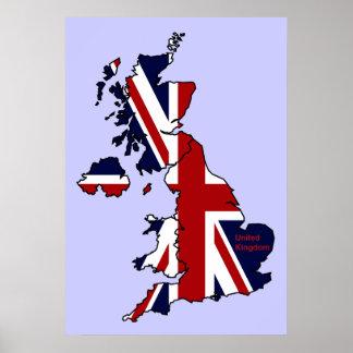 United Kingdom Mapped Poster