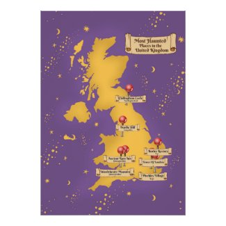 United Kingdom Most Haunted Places Map. Poster