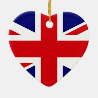 UNITED KINGDOM Double-Sided HEART CERAMIC CHRISTMAS ORNAMENT
