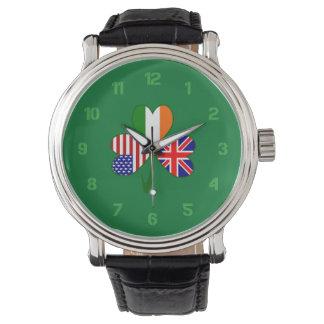 United Kingdom Shamrock Wristwatch