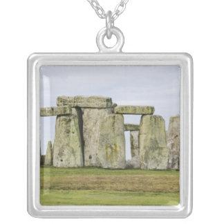 United Kingdom, Stonehenge 6 Square Pendant Necklace