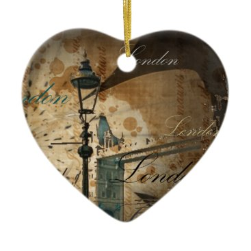 acharmingprintz united kingdom thames london tower bridge Lamppost Ceramic Ornament