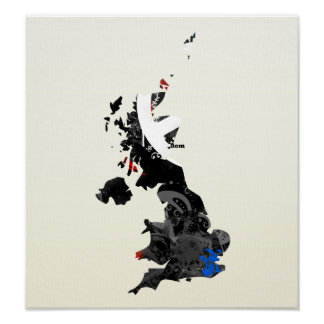 United Kingdom Trendy Peace Sign with Briton map Poster