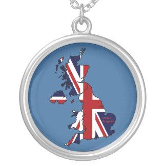 United Kingdom Union Jack Map Silver Necklace