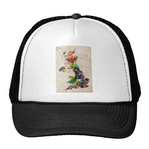 United Kingdom Watercolor Map Hat