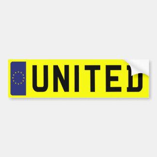 UNITED Number Plate Bumper Sticker