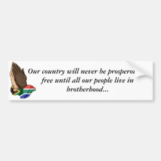 United prayer hands SA, Our country will never ... Car Bumper Sticker