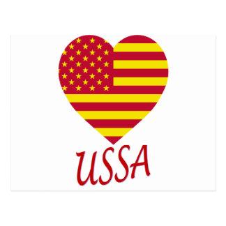 United Socialist States of America Flag Heart Postcard