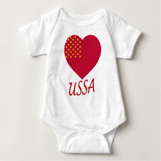United Soviet States of America Flag Heart Baby Bodysuit
