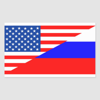 united state america russia half flag usa country rectangular sticker