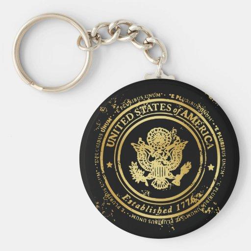 United State Gold Seal - Eagle - E Pluribus Unum Key Chain