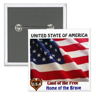 UNITED STATE OF AMERICA BY MOJI GBADAMOSI OKUBULE 2 INCH SQUARE BUTTON