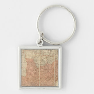 United States 14 Silver-Colored Square Keychain